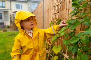 Little boy in a yellow rain coat