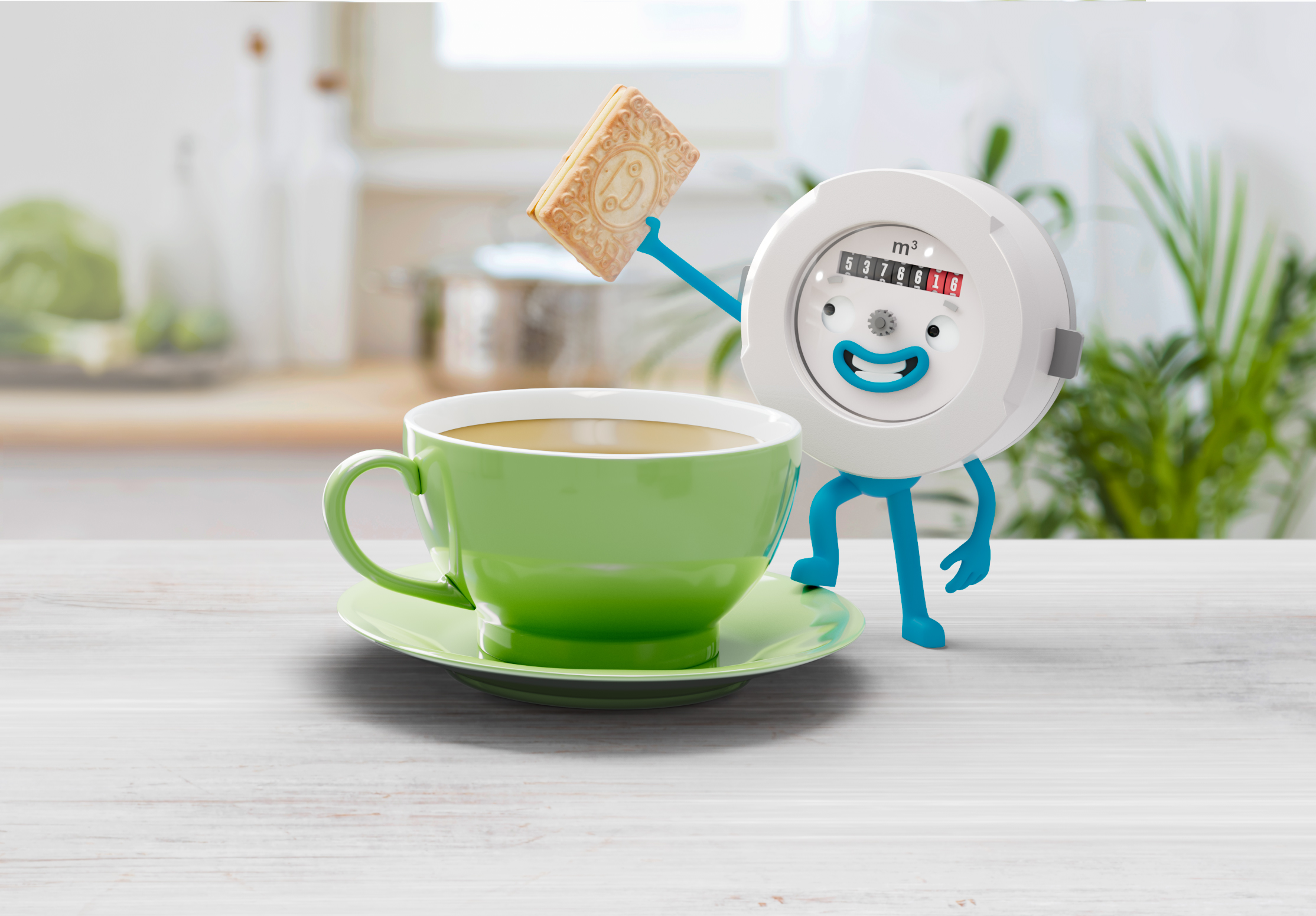 Peter the Meter with a cup of tea